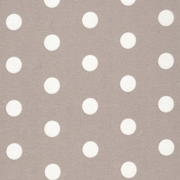 Beschichteter Baumwollstoff, Beige mit weißen Dots