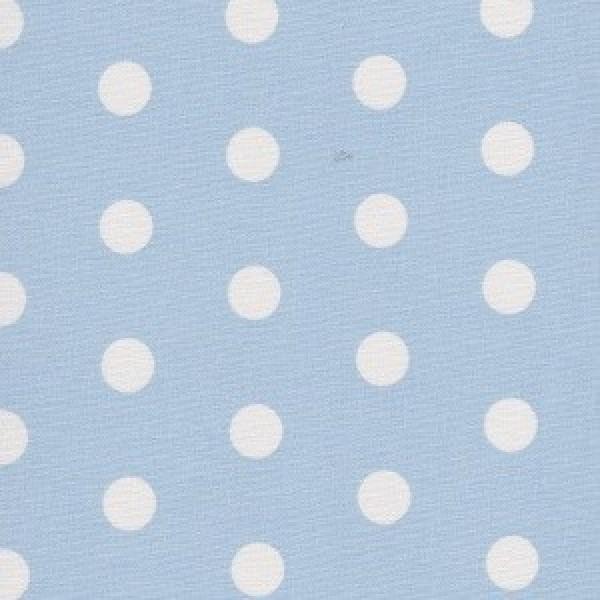 Beschichteter Baumwollstoff, weiß Dots auf Baby Blau