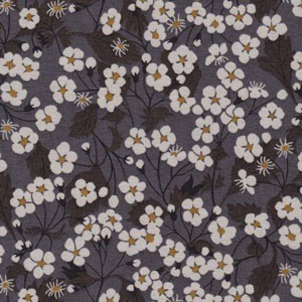 Liberty Fabric, Mitsi Blumen Grau