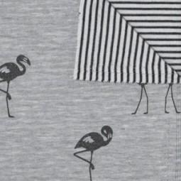 Jogging Flamingo Glitzer Grau double face