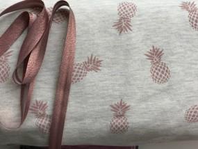 Jogging meliert grau mit glitzer rosaner Ananas