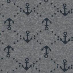 Jersey Jacquard Anker grau