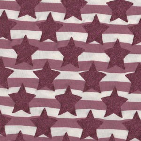 Brombeere Glitzer Sterne und Streifen Jersey
