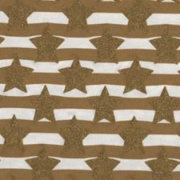 goldene Glitzer Sterne und Streifen Senf Jersey