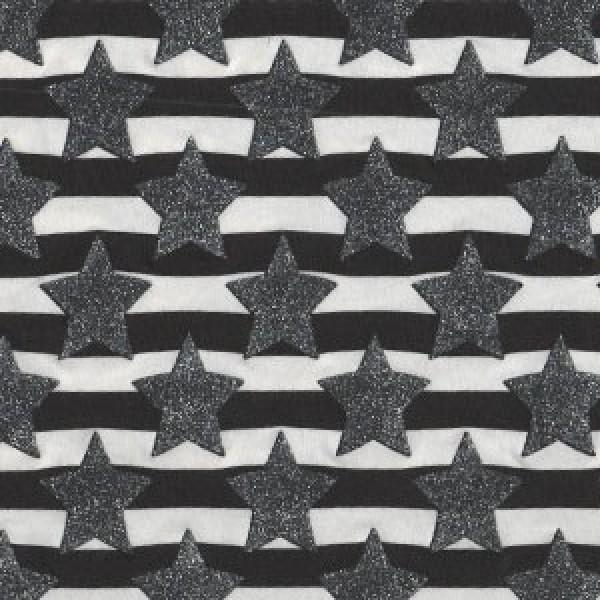 Silberne Glitzer Sterne auf schwarze Streifen Jersey