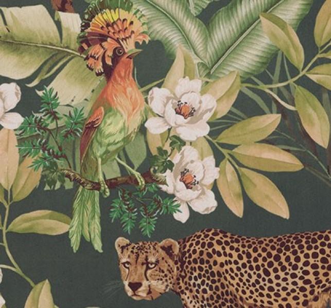 Samt Digital Print Tiger Papagei Blätter