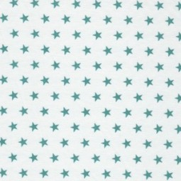 kleine türkis-grüne Sterne auf Weiß