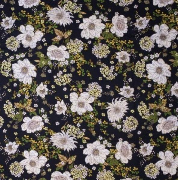 Viskose schwarz Blumen