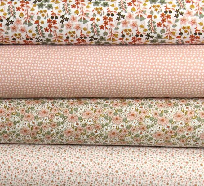 Baumwolle Blumen ocker mint rosa