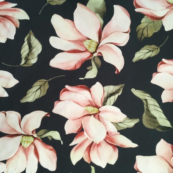 Jersey Blumen dunkelblau