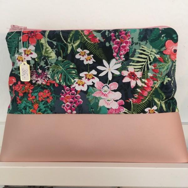 Kulturtasche Blumen tropic rosa