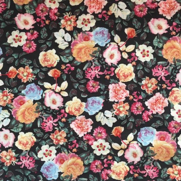 Viskose Blumen auf schwarz