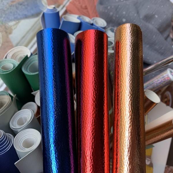 Kunst-Leder rot metallic