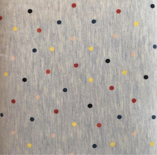 JERSEY blau mit bunten Punkten
