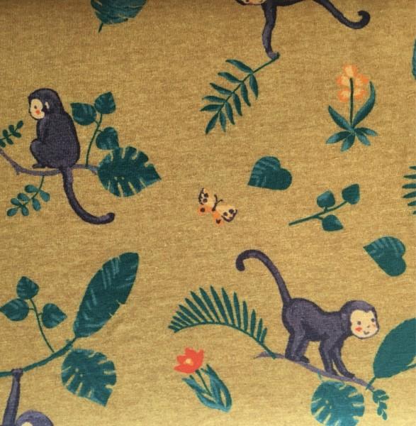 JERSEY senfgelb mit Affen