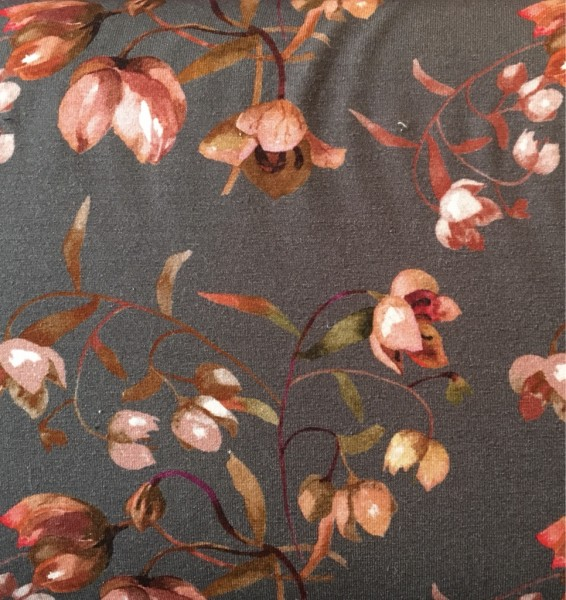 Jersey Viskose grau Blumen