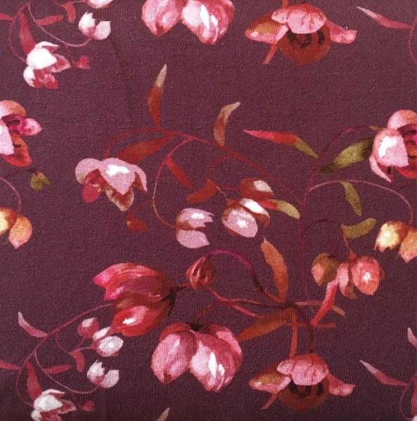 Jersey Viskose rot mit Blumen