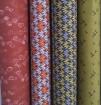 Baumwolle Blumen rostrot hellblau