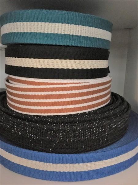 Gurtband blau mit Streifen 4 cm