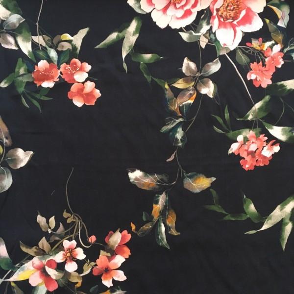 Viskose Blumen schwarz rosa