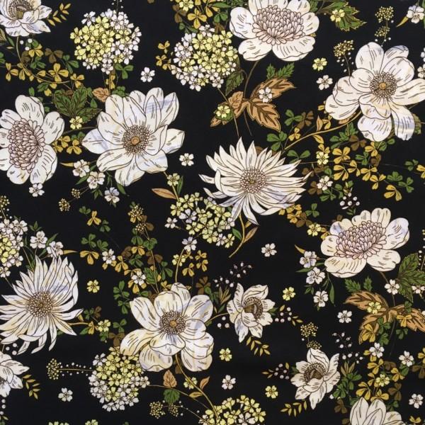 Viskose Blumenmuster schwarz