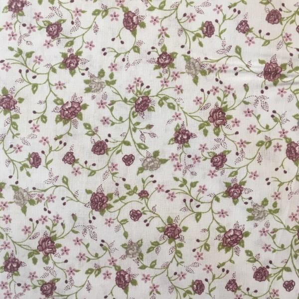 Baumwolle Blumenmuster weiß dunkelrosa grün