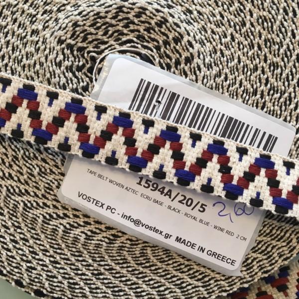 Gurtband ecru schwarz blau rot 2cm