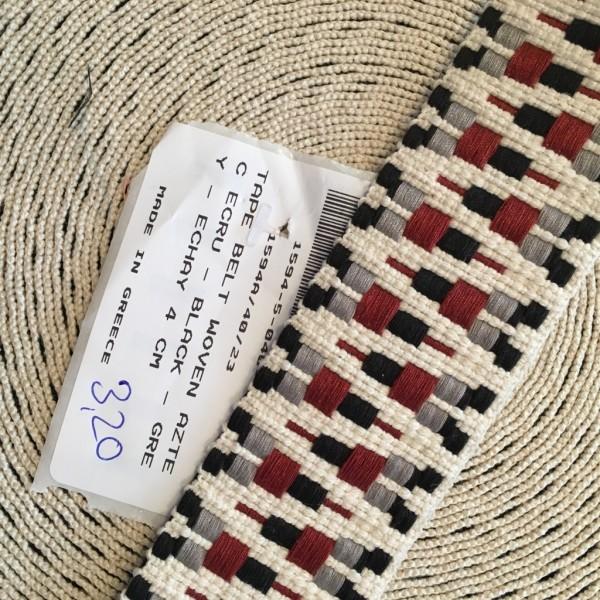 Gurtband 4cm ecru schwarz grau echay