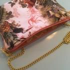 Tasche aus tropischen Stoff mit Goldkette