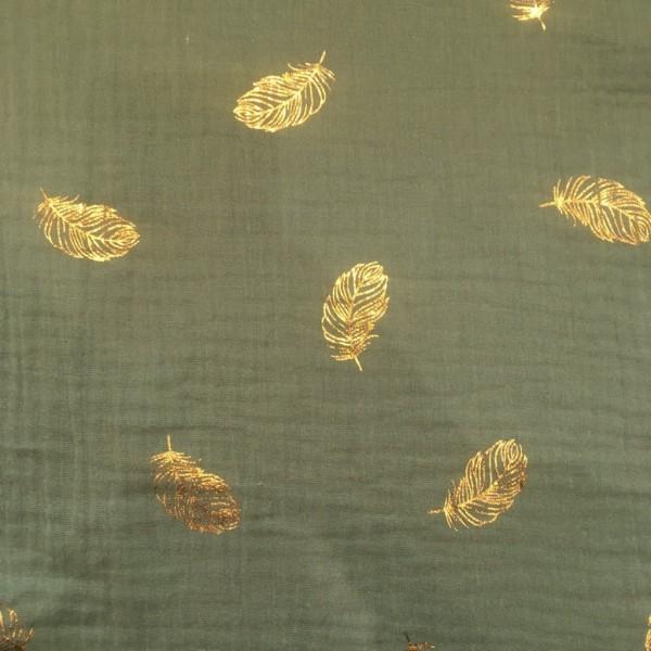 Musselin double gauze dunkles mint mit goldenen Federn
