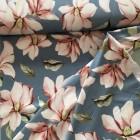 Jersey blau mit Blumen
