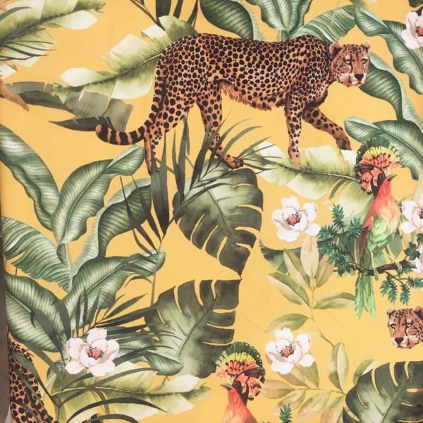 Samt Digital Print Leopoard tropic gelb