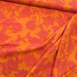 Viskose Blumen gelb rosa gemustert