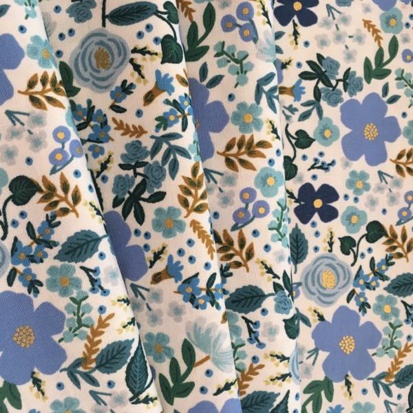 Baumwolle AGF Flowers blau gold
