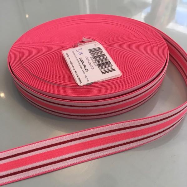 Gummiband stripes fluo pink white red 3cm
