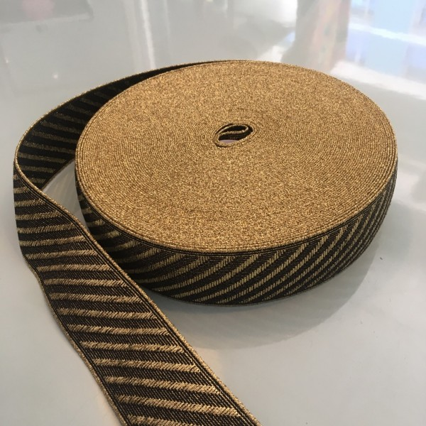 Gummiband schwarz gold 5cm