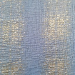 Mullstoff Double Gauze blau silber