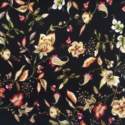 JERSEY Blumenmuster schwarz