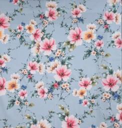 Baumwolle Blumen hellblau