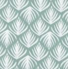 Baumwollstoff hellblau weiß Blätter