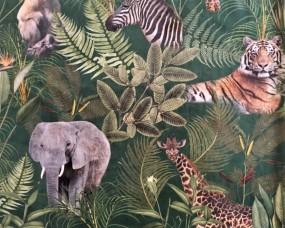 Samt digital Print Afrika Tiere