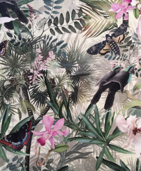 Jersey Viskose Vögel Schmetterlinge tropical