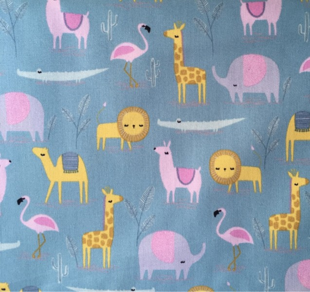 Baumwolle Tiere blau gelb