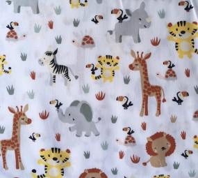Baumwolle Tiere weiß bunt