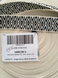 Gurtband ecru schwarz 3cm
