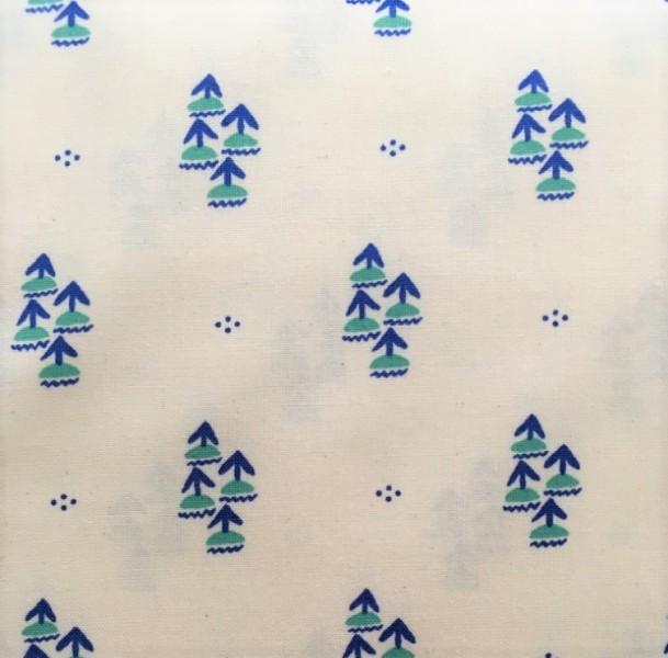 Baumwolle weiß blaue Palmen