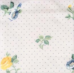 Baumwolle weiß mit gelben und blauen Blumen