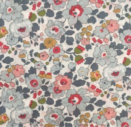 Liberty Fabric,Flowers grey