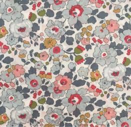 Liberty Fabric,Flowers grey