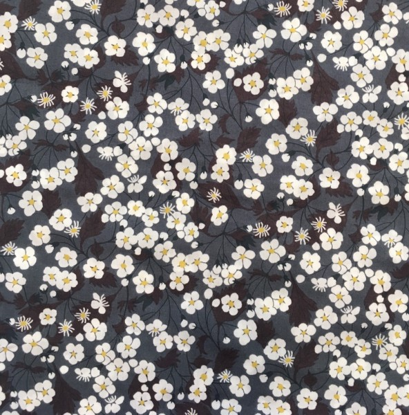 Liberty Fabric, Blumen dunkelblau gelb